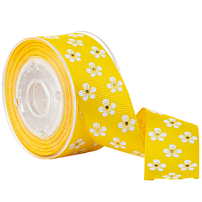 Printed Flower Grosgrain Ribon